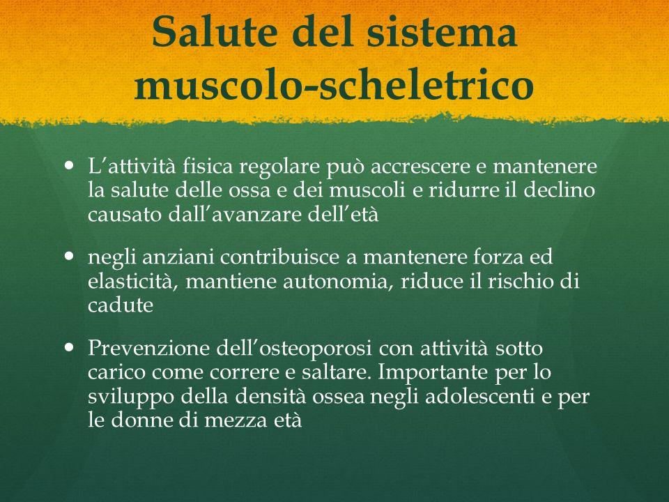 Salute del sistema muscolo-scheletrico Lattività fisica regolare può accrescere e mantenere la salute delle ossa e dei muscoli e ridurre il declino ca