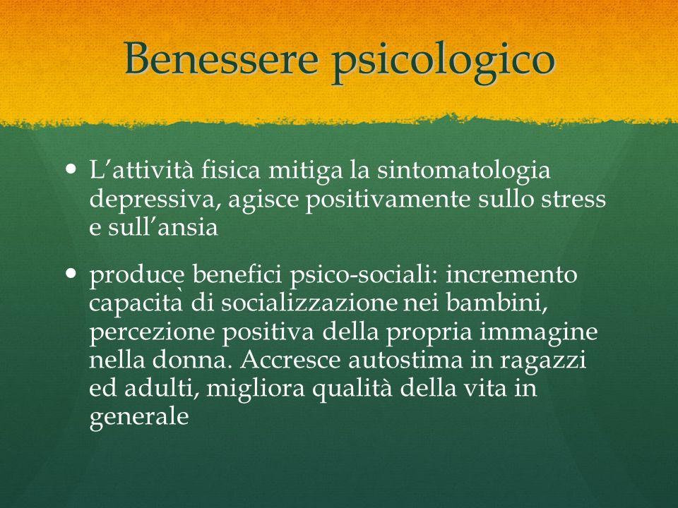 Benessere psicologico Lattività fisica mitiga la sintomatologia depressiva, agisce positivamente sullo stress e sullansia produce benefici psico-socia