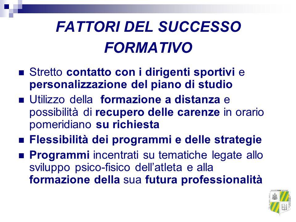 FATTORI DEL SUCCESSO FORMATIVO Stretto contatto con i dirigenti sportivi e personalizzazione del piano di studio Utilizzo della formazione a distanza