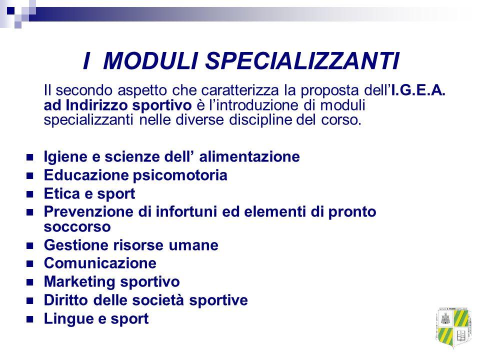 I MODULI SPECIALIZZANTI Il secondo aspetto che caratterizza la proposta dellI.G.E.A. ad Indirizzo sportivo è lintroduzione di moduli specializzanti ne