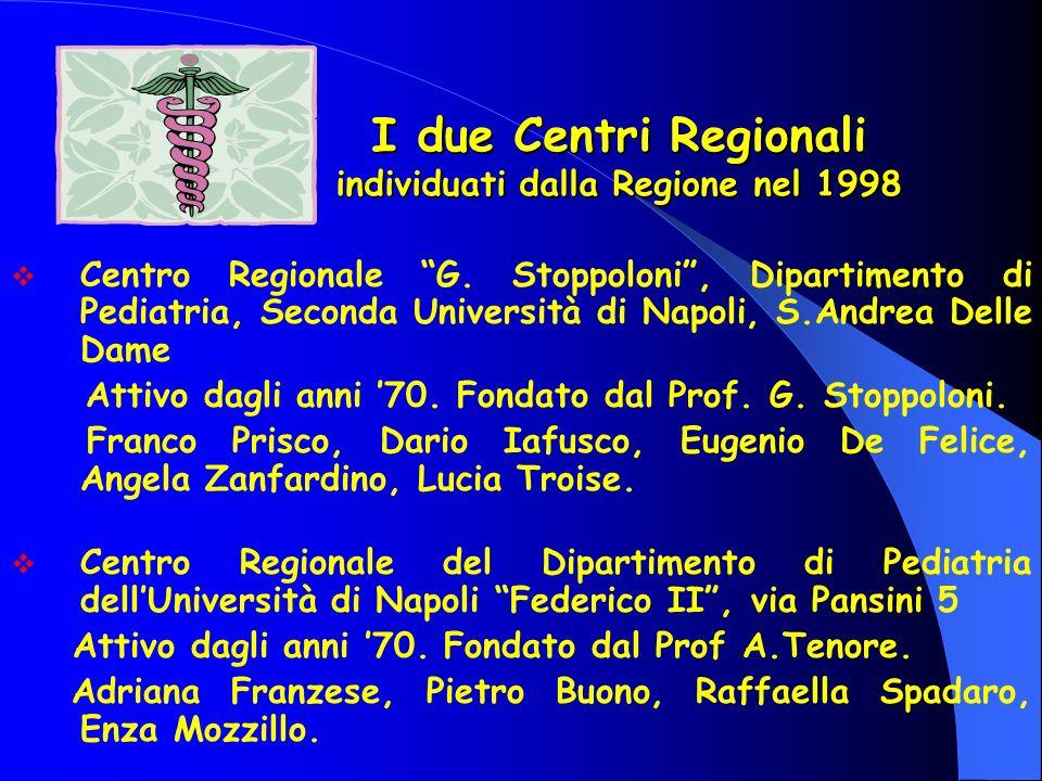 I due Centri Regionali individuati dalla Regione nel 1998 Centro Regionale G. Stoppoloni, Dipartimento di Pediatria, Seconda Università di Napoli, S.A
