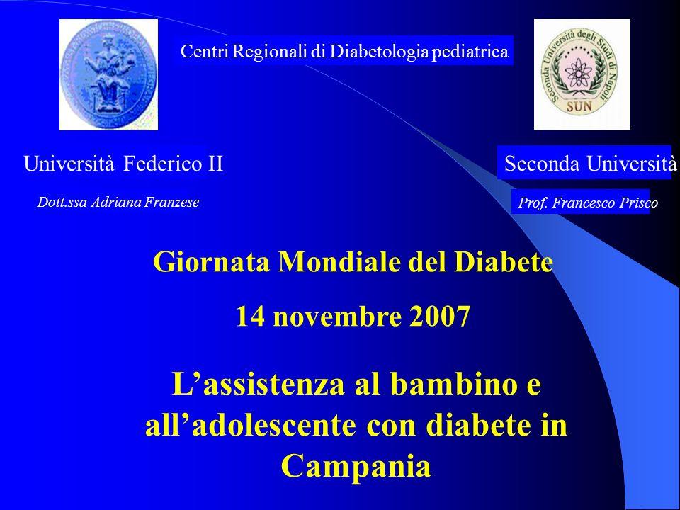 Università Federico IISeconda Università Centri Regionali di Diabetologia pediatrica Dott.ssa Adriana Franzese Prof. Francesco Prisco Lassistenza al b