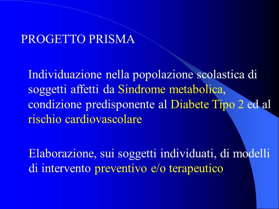 PROGETTO PRISMA Elaborazione, sui soggetti individuati, di modelli di intervento preventivo e/o terapeutico Individuazione nella popolazione scolastic