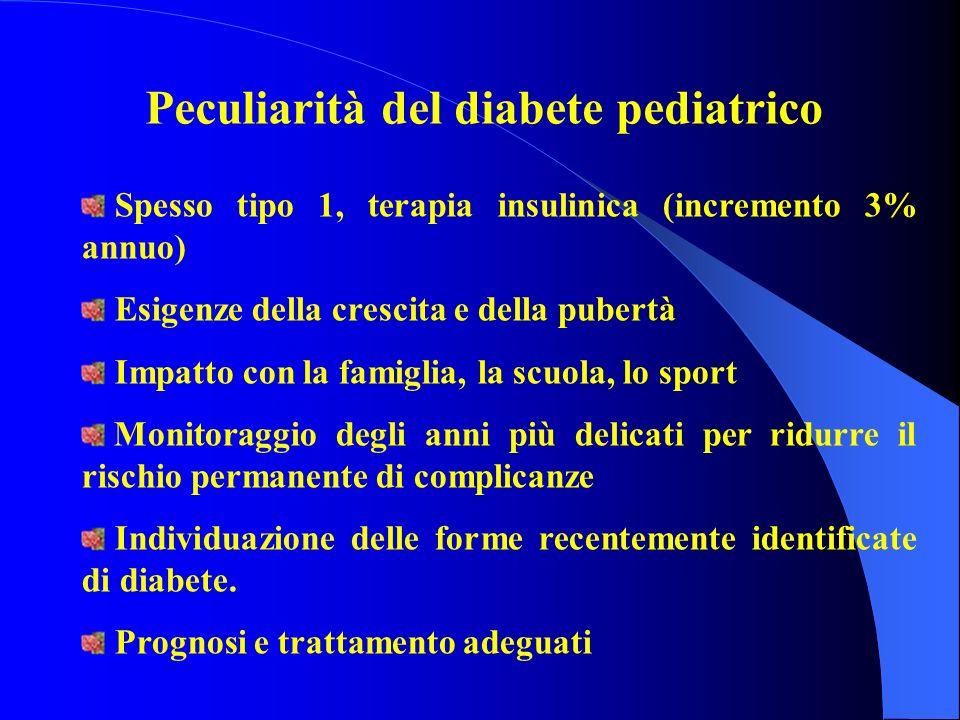 Peculiarità del diabete pediatrico Spesso tipo 1, terapia insulinica (incremento 3% annuo) Esigenze della crescita e della pubertà Impatto con la fami
