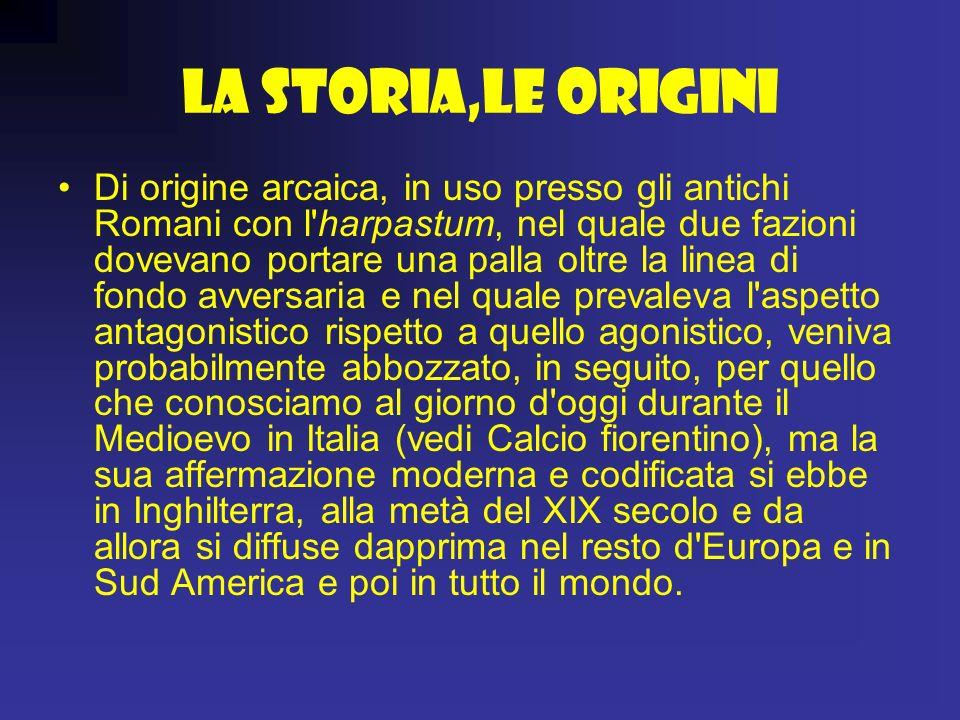 La Storia,le origini Di origine arcaica, in uso presso gli antichi Romani con l'harpastum, nel quale due fazioni dovevano portare una palla oltre la l