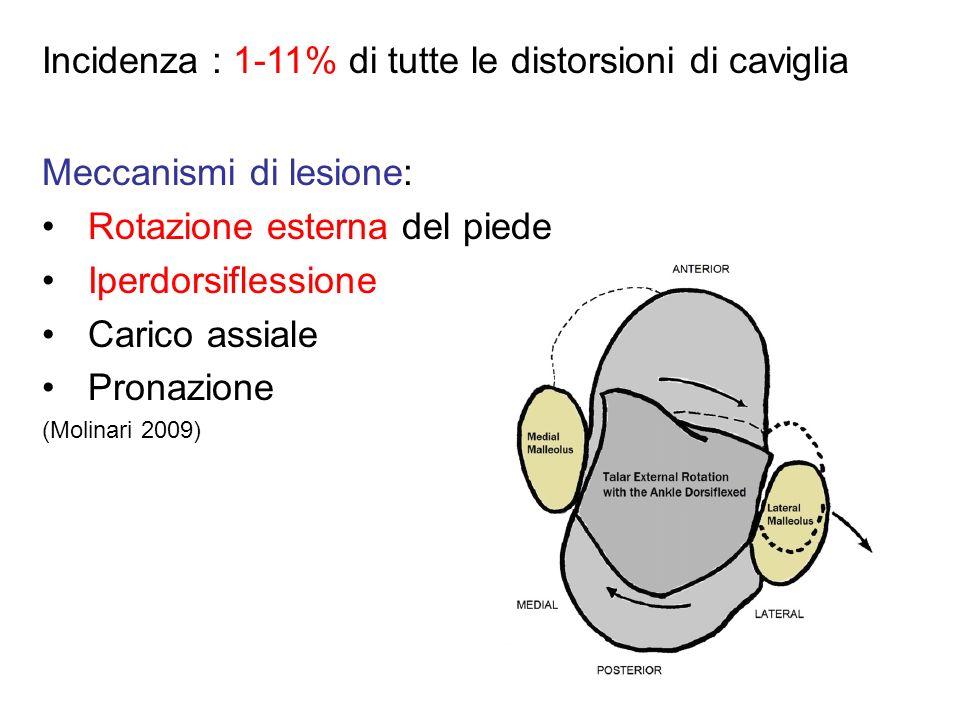 Meccanismi di lesione: Rotazione esterna del piede Iperdorsiflessione Carico assiale Pronazione (Molinari 2009) Incidenza : 1-11% di tutte le distorsi