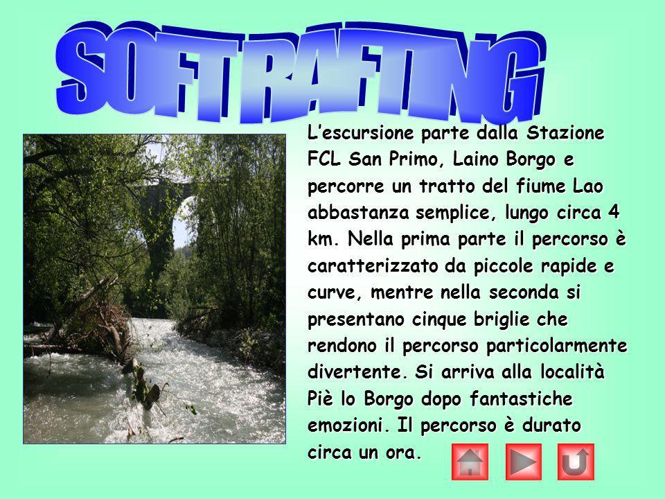 Lescursione parte dalla Stazione FCL San Primo, Laino Borgo e percorre un tratto del fiume Lao abbastanza semplice, lungo circa 4 km. Nella prima part