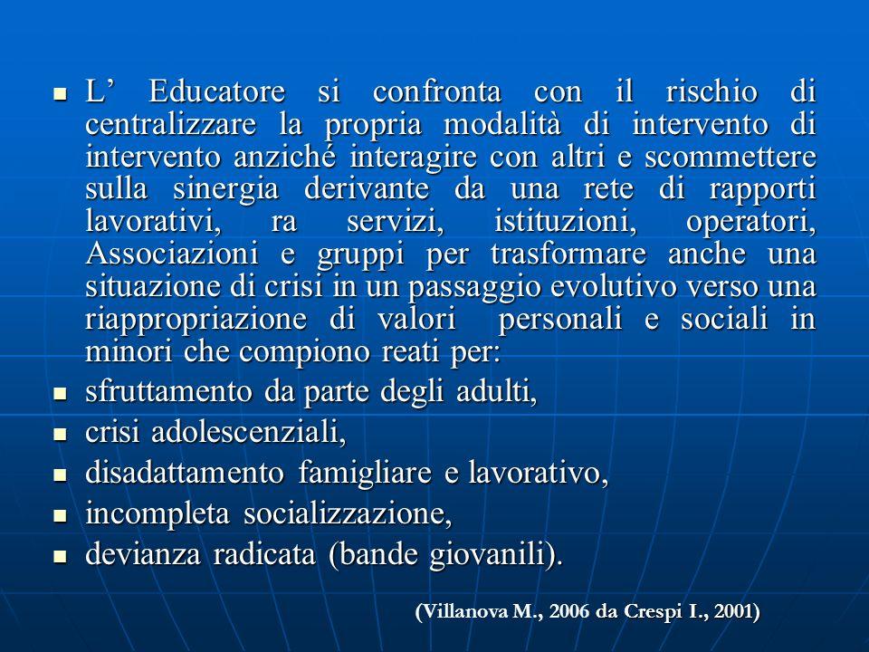 L Educatore si confronta con il rischio di centralizzare la propria modalità di intervento di intervento anziché interagire con altri e scommettere su