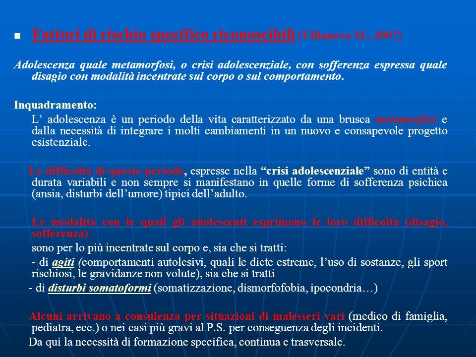 Fattori di rischio specifico riconoscibili (Villanova M., 2007) Adolescenza quale metamorfosi, o crisi adolescenziale, con sofferenza espressa quale d