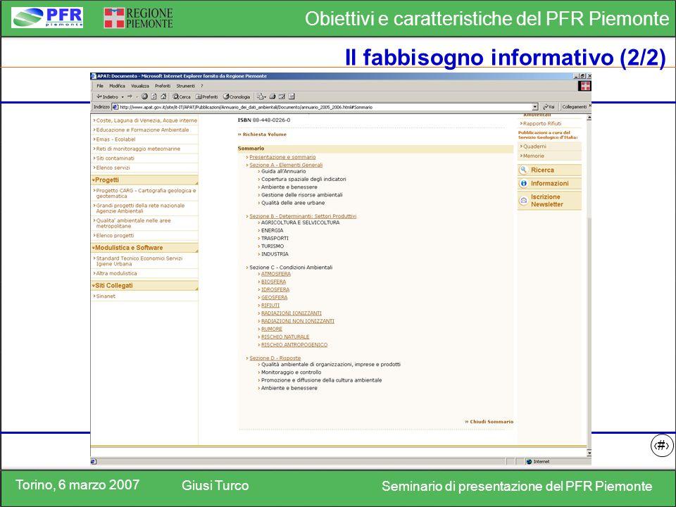 Torino, 6 marzo 2007 Giusi Turco Seminario di presentazione del PFR Piemonte Obiettivi e caratteristiche del PFR Piemonte 11 Il fabbisogno informativo (2/2)