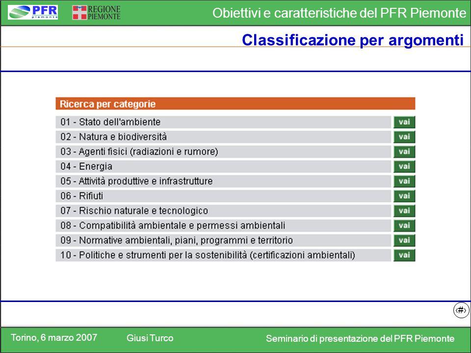 Torino, 6 marzo 2007 Giusi Turco Seminario di presentazione del PFR Piemonte Obiettivi e caratteristiche del PFR Piemonte 14 Classificazione per argomenti