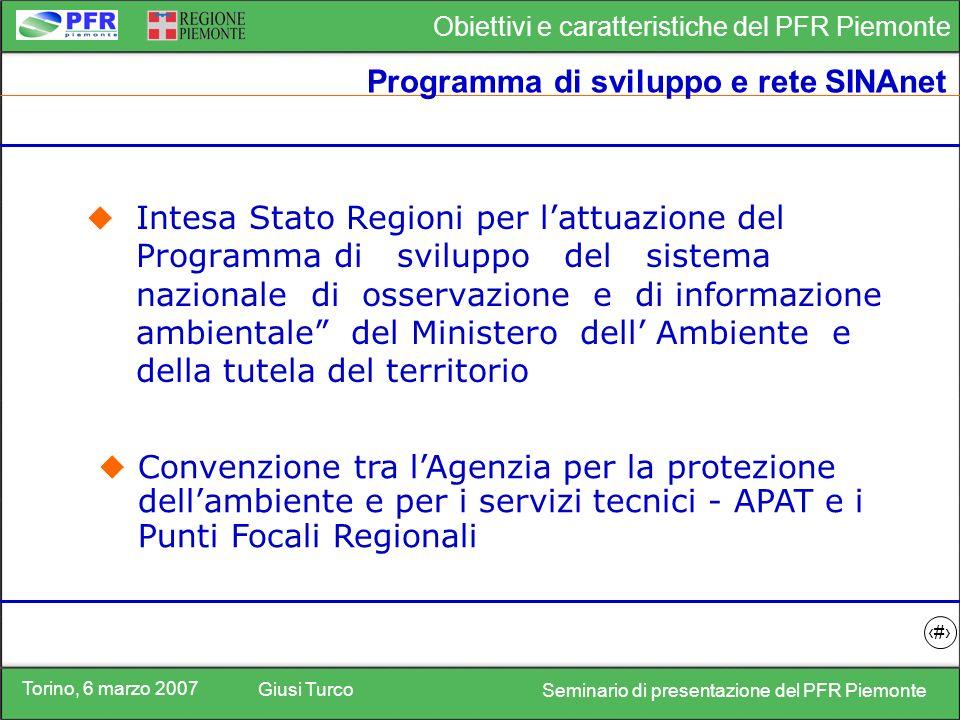 Torino, 6 marzo 2007 Giusi Turco Seminario di presentazione del PFR Piemonte Obiettivi e caratteristiche del PFR Piemonte 13 Dati e informazioni disponibili