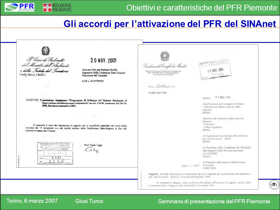 Torino, 6 marzo 2007 Giusi Turco Seminario di presentazione del PFR Piemonte Obiettivi e caratteristiche del PFR Piemonte 3 Gli accordi per lattivazione del PFR del SINAnet