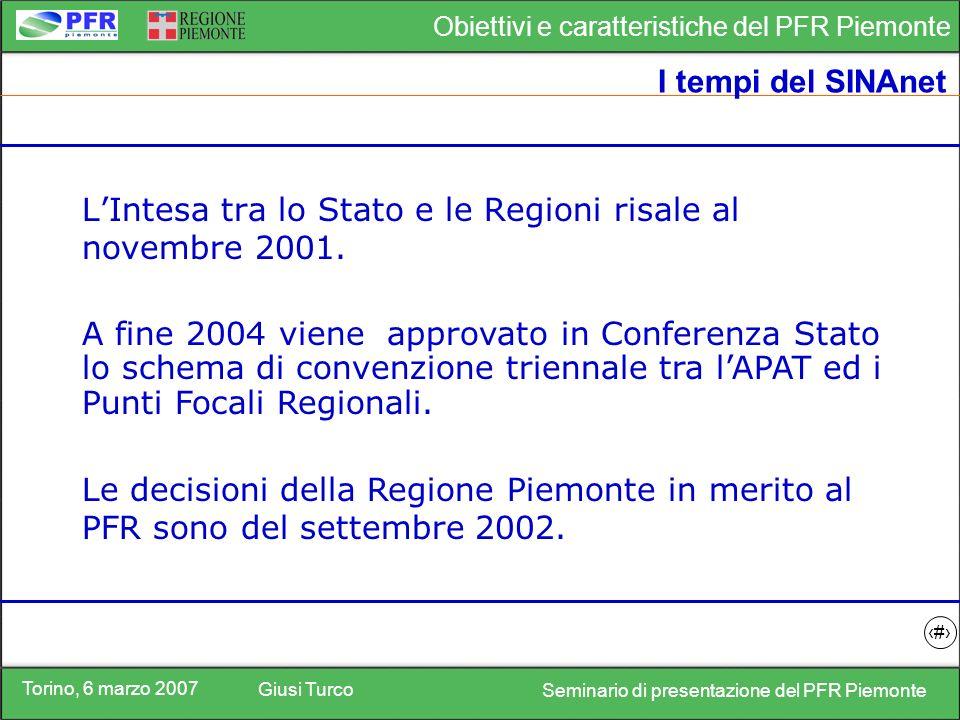 Torino, 6 marzo 2007 Giusi Turco Seminario di presentazione del PFR Piemonte Obiettivi e caratteristiche del PFR Piemonte 15 I servizi informativi offerti dal PFR