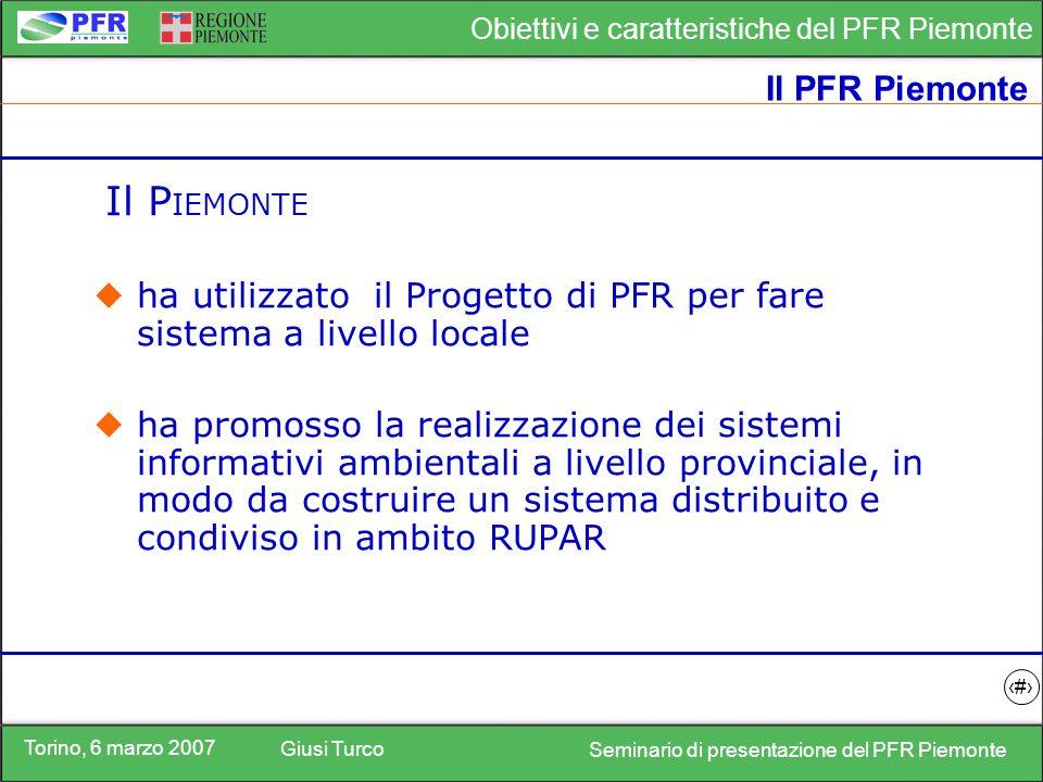 Torino, 6 marzo 2007 Giusi Turco Seminario di presentazione del PFR Piemonte Obiettivi e caratteristiche del PFR Piemonte 18 I soggetti del SINAnet ISTAT APAT CTN MAMB IPR Regioni Prov.