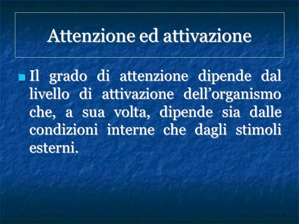 Attenzione ed attivazione Il grado di attenzione dipende dal livello di attivazione dellorganismo che, a sua volta, dipende sia dalle condizioni inter
