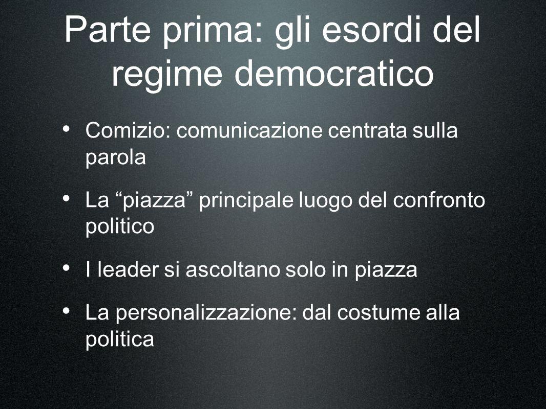 Parte prima: gli esordi del regime democratico Comizio: comunicazione centrata sulla parola La piazza principale luogo del confronto politico I leader