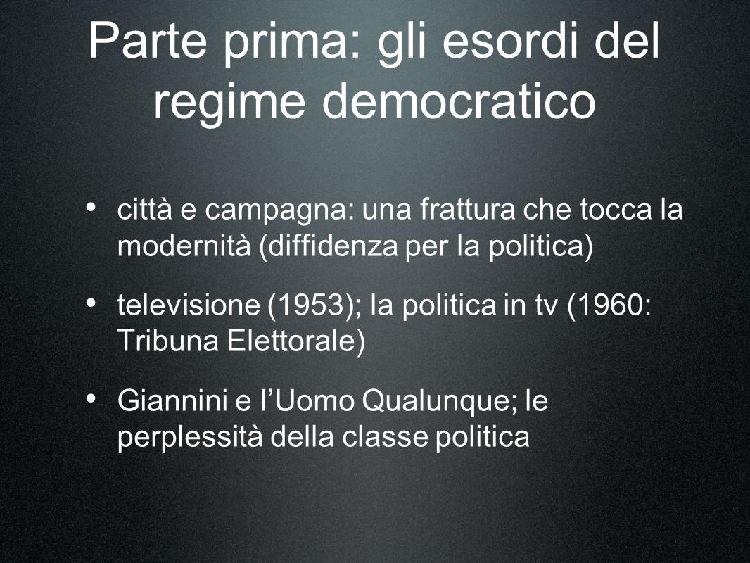 Parte prima: gli esordi del regime democratico città e campagna: una frattura che tocca la modernità (diffidenza per la politica) televisione (1953);