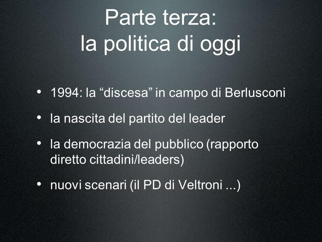 Parte terza: la politica di oggi 1994: la discesa in campo di Berlusconi la nascita del partito del leader la democrazia del pubblico (rapporto diretto cittadini/leaders) nuovi scenari (il PD di Veltroni...)