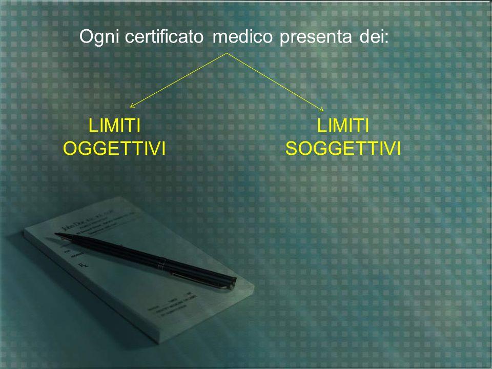 Ogni certificato medico presenta dei: LIMITI OGGETTIVI LIMITI SOGGETTIVI