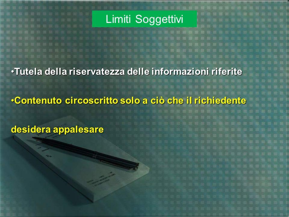Limiti Soggettivi Tutela della riservatezza delle informazioni riferiteTutela della riservatezza delle informazioni riferite Contenuto circoscritto so