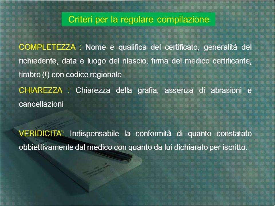Criteri per la regolare compilazione COMPLETEZZA : Nome e qualifica del certificato, generalità del richiedente, data e luogo del rilascio, firma del