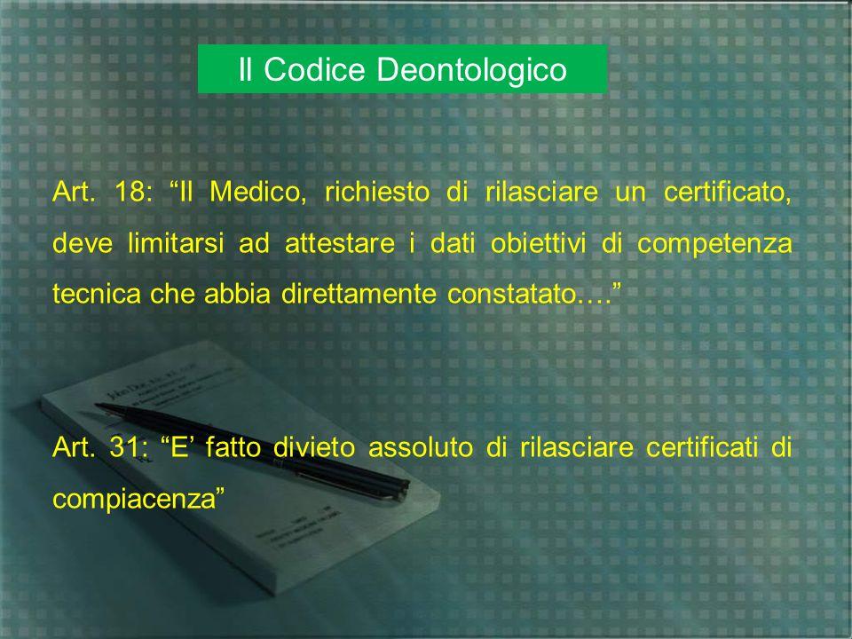 Il Codice Deontologico Art. 18: Il Medico, richiesto di rilasciare un certificato, deve limitarsi ad attestare i dati obiettivi di competenza tecnica