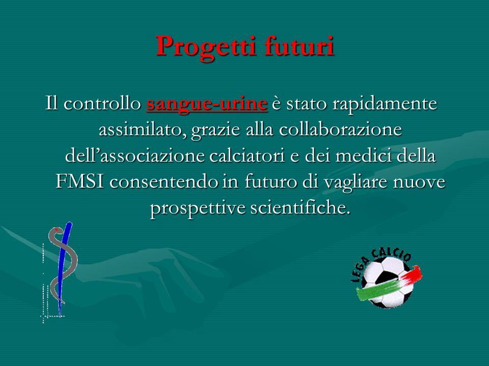 Progetti futuri Il controllo sangue-urine è stato rapidamente assimilato, grazie alla collaborazione dellassociazione calciatori e dei medici della FM
