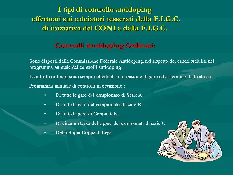 I tipi di controllo antidoping effettuati sui calciatori tesserati della F.I.G.C. di iniziativa del CONI e della F.I.G.C. Controlli Antidoping Ordinar