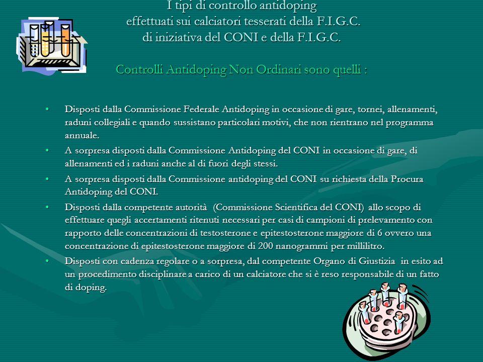 I tipi di controllo antidoping effettuati sui calciatori tesserati della F.I.G.C. di iniziativa del CONI e della F.I.G.C. Controlli Antidoping Non Ord