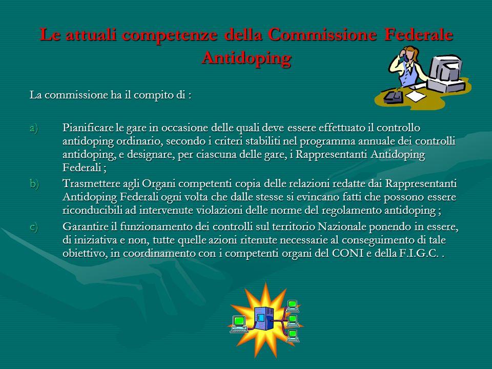 Le attuali competenze della Commissione Federale Antidoping La commissione ha il compito di : a)Pianificare le gare in occasione delle quali deve esse