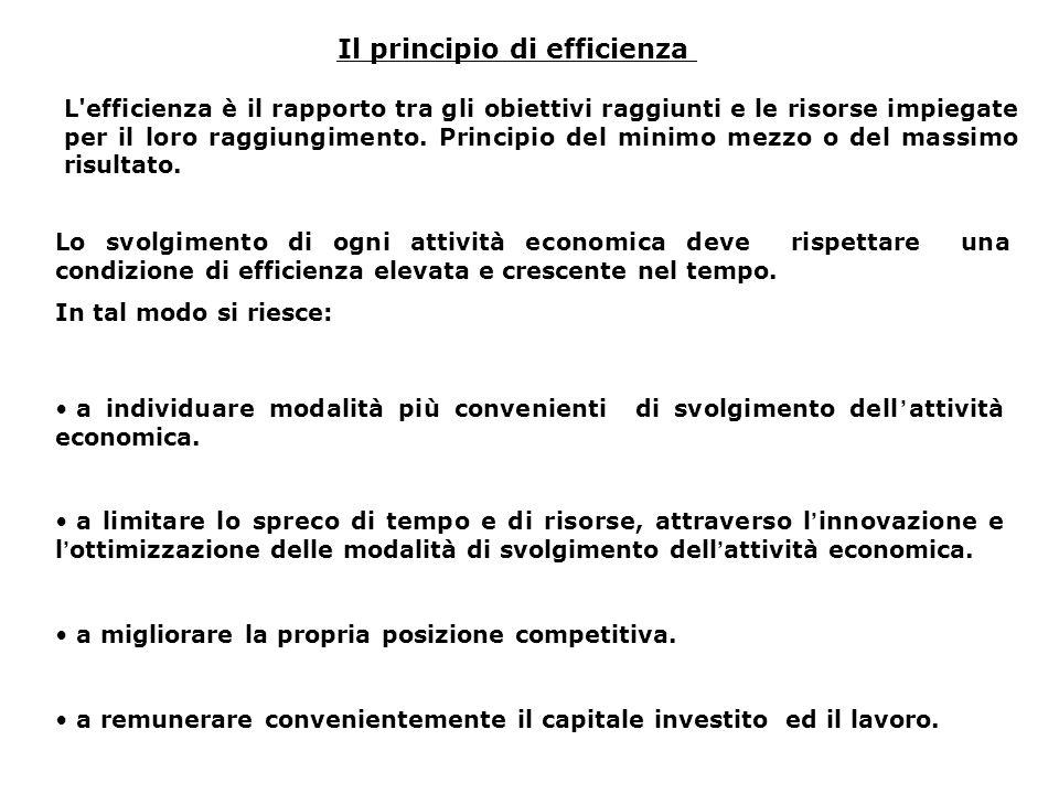 Il principio di efficienza L'efficienza è il rapporto tra gli obiettivi raggiunti e le risorse impiegate per il loro raggiungimento. Principio del min