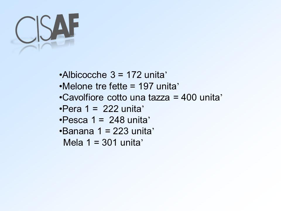 Albicocche 3 = 172 unita Melone tre fette = 197 unita Cavolfiore cotto una tazza = 400 unita Pera 1 = 222 unita Pesca 1 = 248 unita Banana 1 = 223 uni