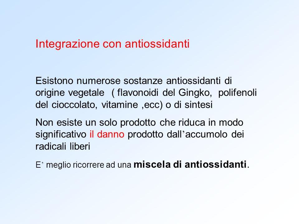 Integrazione con antiossidanti Esistono numerose sostanze antiossidanti di origine vegetale ( flavonoidi del Gingko, polifenoli del cioccolato, vitami