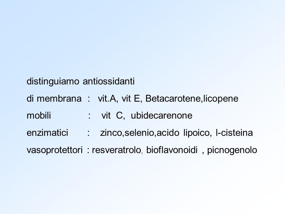 distinguiamo antiossidanti di membrana : vit.A, vit E, Betacarotene,licopene mobili : vit C, ubidecarenone enzimatici : zinco,selenio,acido lipoico, l
