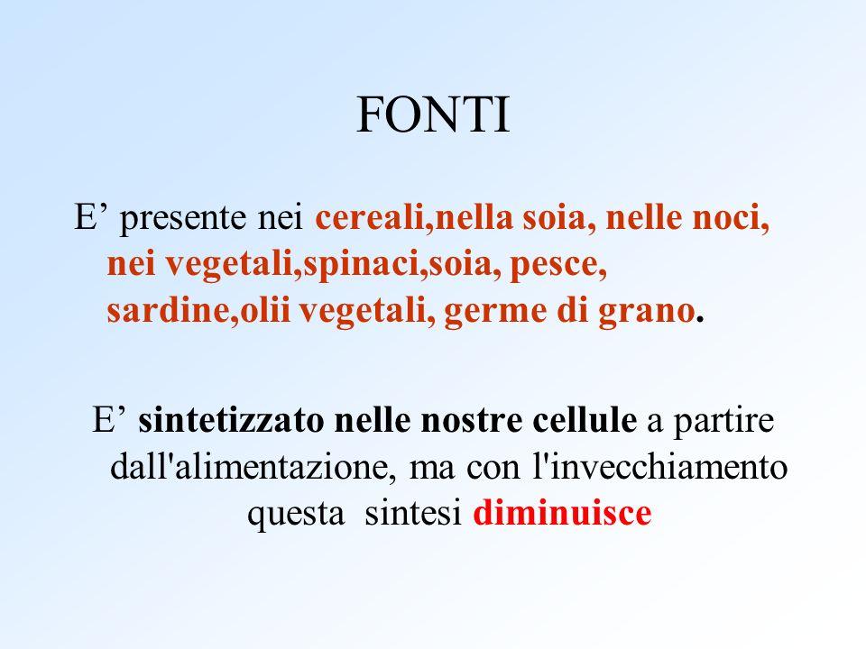 FONTI E presente nei cereali,nella soia, nelle noci, nei vegetali,spinaci,soia, pesce, sardine,olii vegetali, germe di grano. E sintetizzato nelle nos