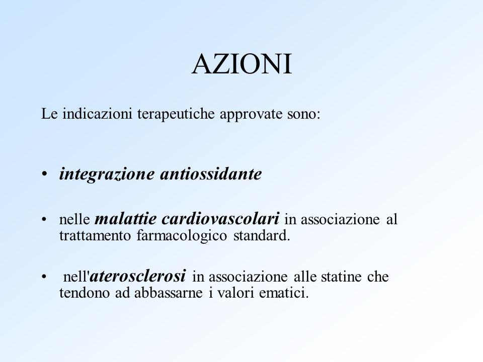 AZIONI Le indicazioni terapeutiche approvate sono: integrazione antiossidante nelle malattie cardiovascolari in associazione al trattamento farmacolog