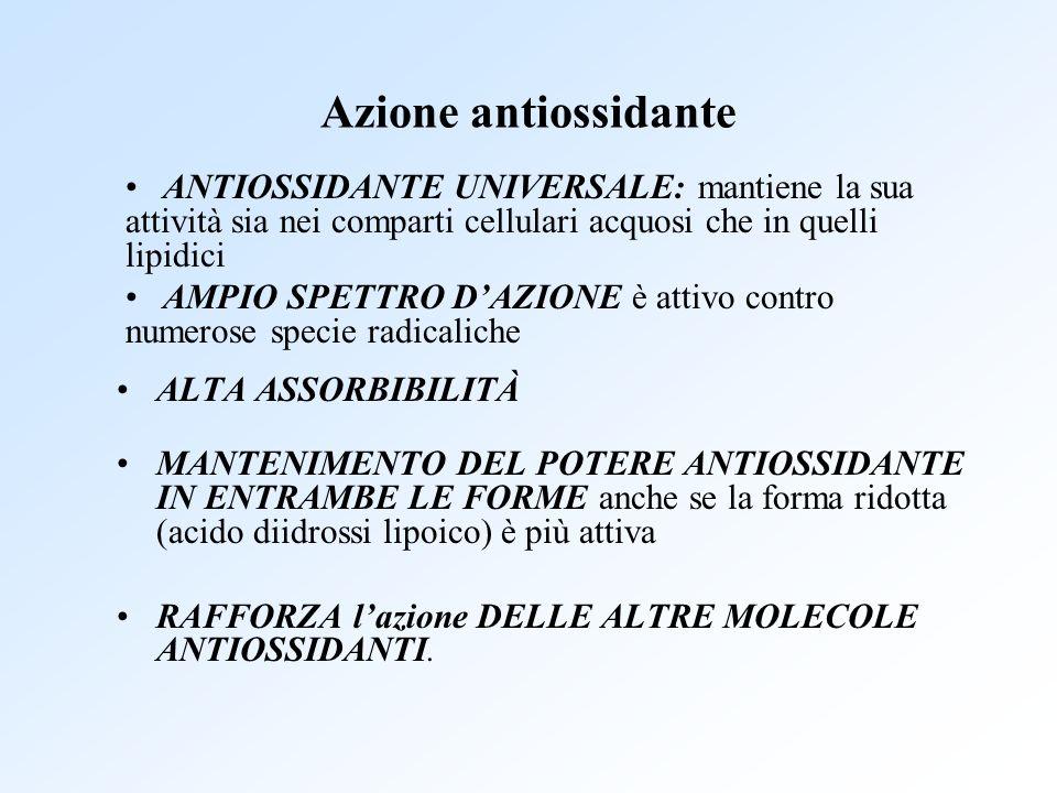 Azione antiossidante ALTA ASSORBIBILITÀ MANTENIMENTO DEL POTERE ANTIOSSIDANTE IN ENTRAMBE LE FORME anche se la forma ridotta (acido diidrossi lipoico)