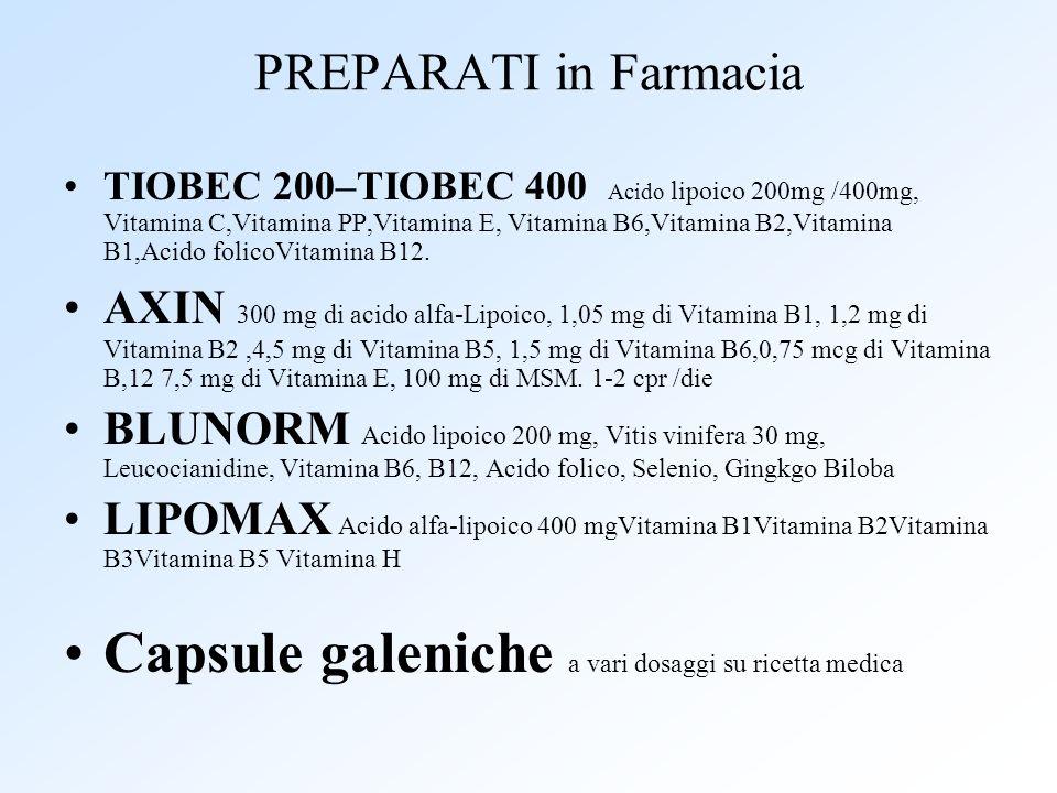 PREPARATI in Farmacia TIOBEC 200–TIOBEC 400 Acido lipoico 200mg /400mg, Vitamina C,Vitamina PP,Vitamina E, Vitamina B6,Vitamina B2,Vitamina B1,Acido f