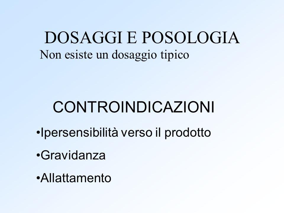 DOSAGGI E POSOLOGIA Non esiste un dosaggio tipico Ipersensibilità verso il prodotto Gravidanza Allattamento CONTROINDICAZIONI