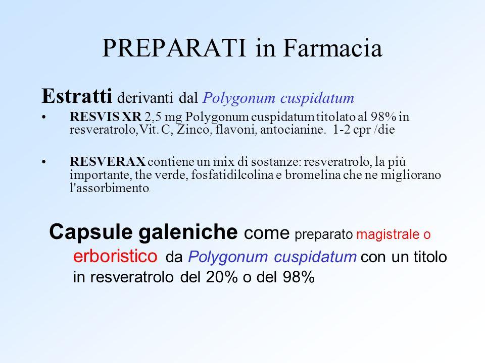 PREPARATI in Farmacia Estratti derivanti dal Polygonum cuspidatum RESVIS XR 2,5 mg Polygonum cuspidatum titolato al 98% in resveratrolo,Vit. C, Zinco,