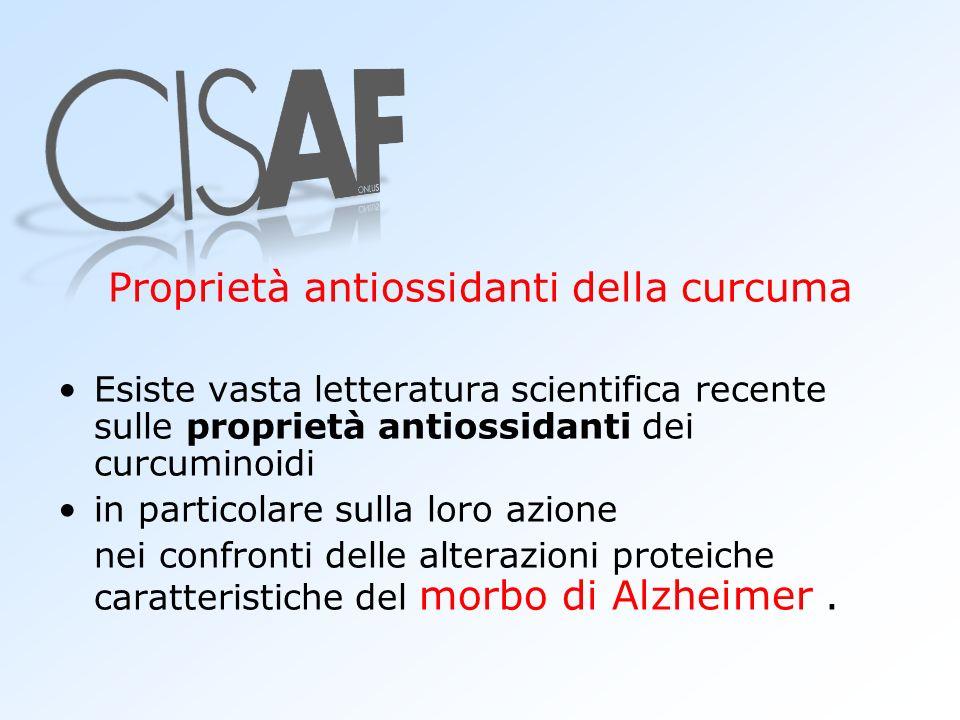 Proprietà antiossidanti della curcuma Esiste vasta letteratura scientifica recente sulle proprietà antiossidanti dei curcuminoidi in particolare sulla