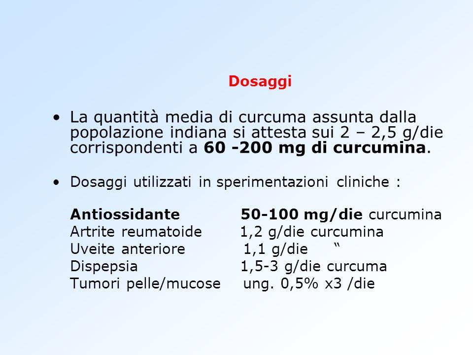 Dosaggi La quantità media di curcuma assunta dalla popolazione indiana si attesta sui 2 – 2,5 g/die corrispondenti a 60 -200 mg di curcumina. Dosaggi