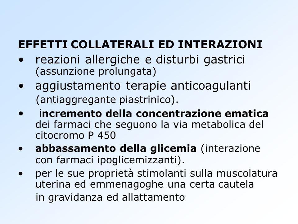 EFFETTI COLLATERALI ED INTERAZIONI reazioni allergiche e disturbi gastrici (assunzione prolungata) aggiustamento terapie anticoagulanti (antiaggregant