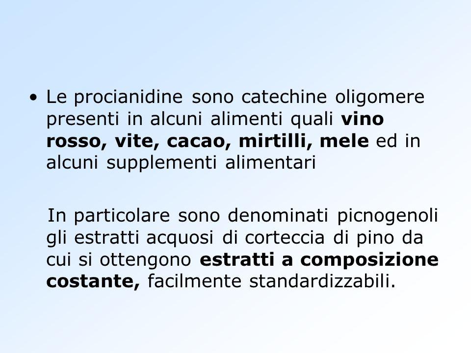 Le procianidine sono catechine oligomere presenti in alcuni alimenti quali vino rosso, vite, cacao, mirtilli, mele ed in alcuni supplementi alimentari