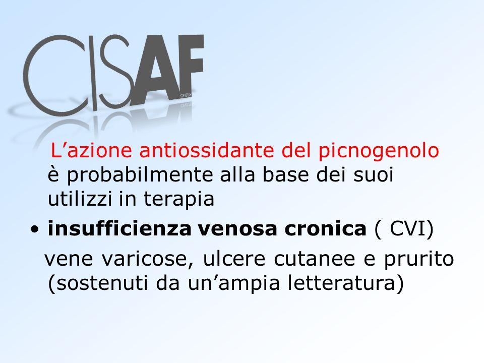 Lazione antiossidante del picnogenolo è probabilmente alla base dei suoi utilizzi in terapia insufficienza venosa cronica ( CVI) vene varicose, ulcere