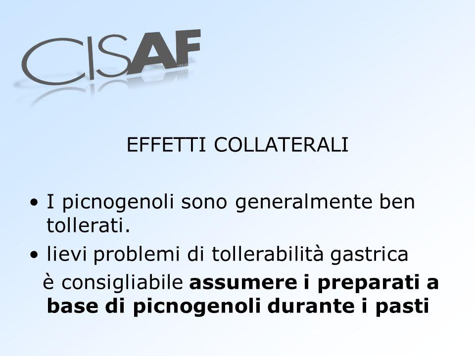 EFFETTI COLLATERALI I picnogenoli sono generalmente ben tollerati. lievi problemi di tollerabilità gastrica è consigliabile assumere i preparati a bas