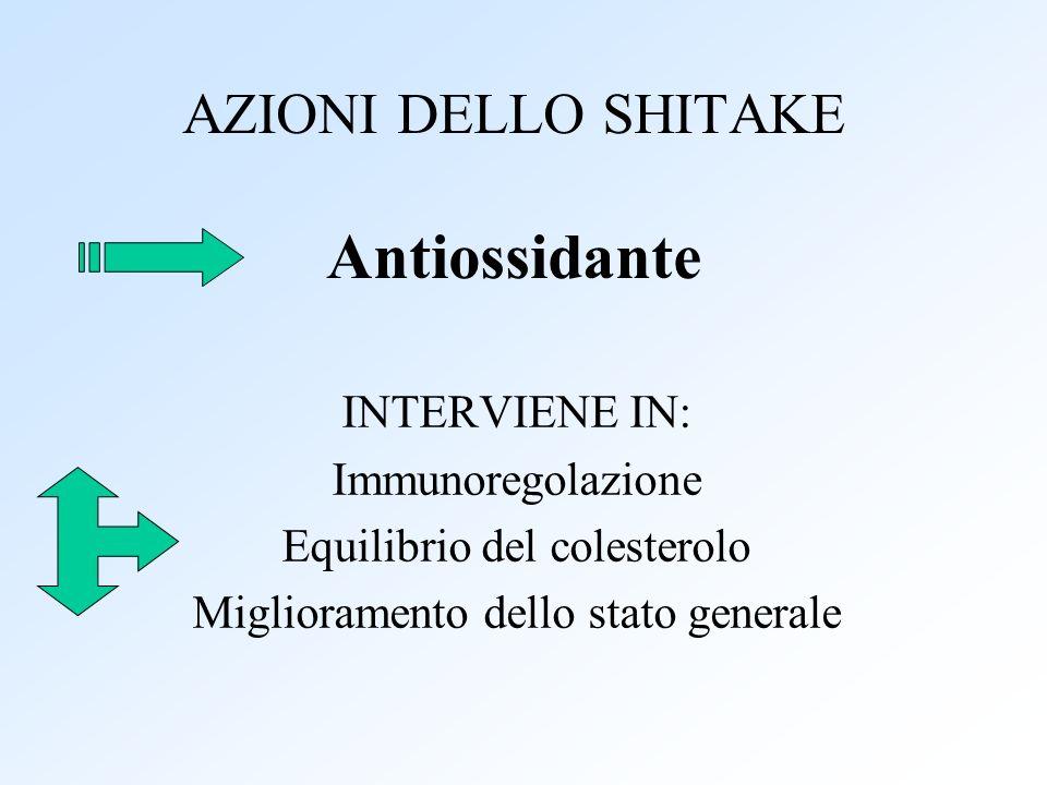 AZIONI DELLO SHITAKE Antiossidante INTERVIENE IN: Immunoregolazione Equilibrio del colesterolo Miglioramento dello stato generale