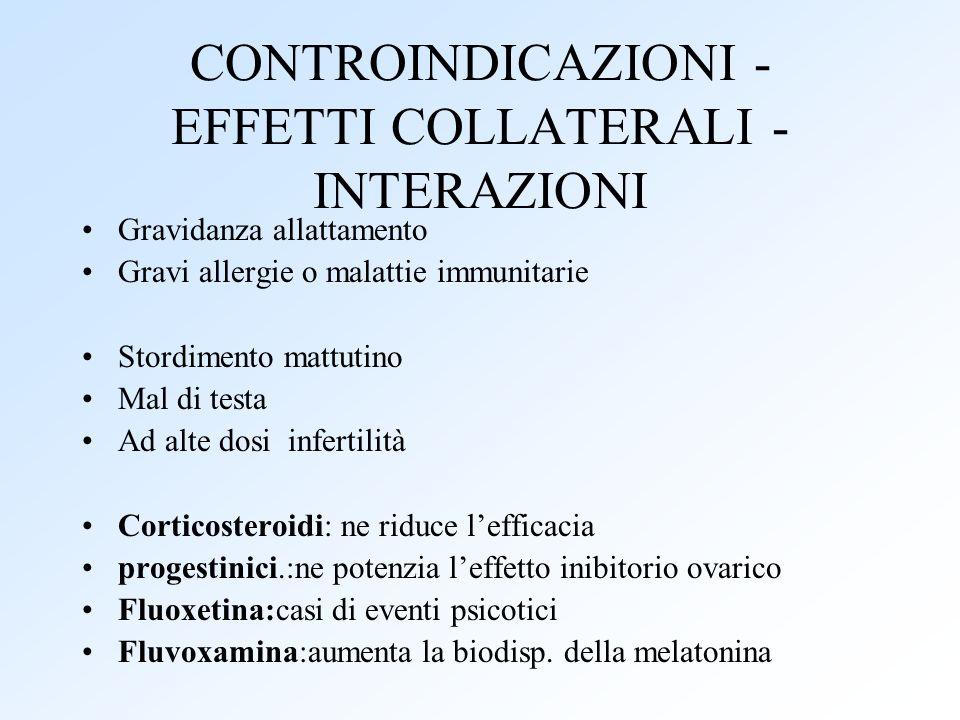 CONTROINDICAZIONI - EFFETTI COLLATERALI - INTERAZIONI Gravidanza allattamento Gravi allergie o malattie immunitarie Stordimento mattutino Mal di testa