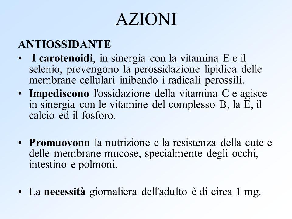 AZIONI ANTIOSSIDANTE I carotenoidi, in sinergia con la vitamina E e il selenio, prevengono la perossidazione lipidica delle membrane cellulari inibend
